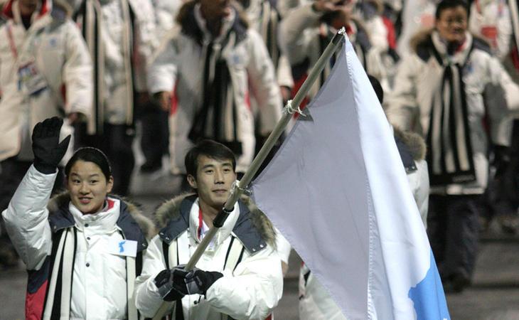 Los atletas de las dos Coreas desfilando juntos en Turín 2006