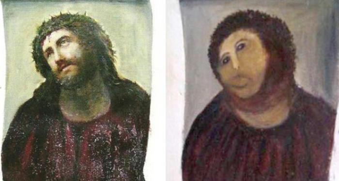 El notable cambio del Ecce Homo tras la 'restauración'
