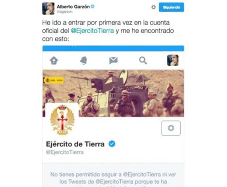 Bloqueo del Ejército de Tierra a Alberto Garzón