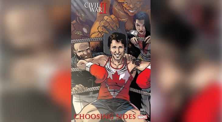 La portada del cómic en el que aparece Justin Trudeau (Marvel)