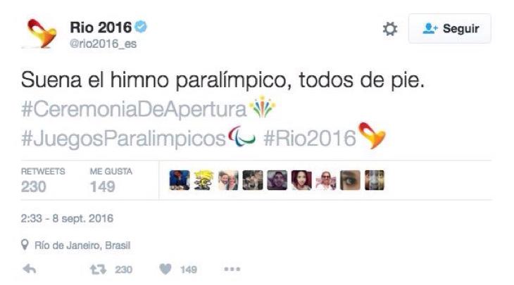Todos de pie. El tweet de los Juegos Paralímpicos