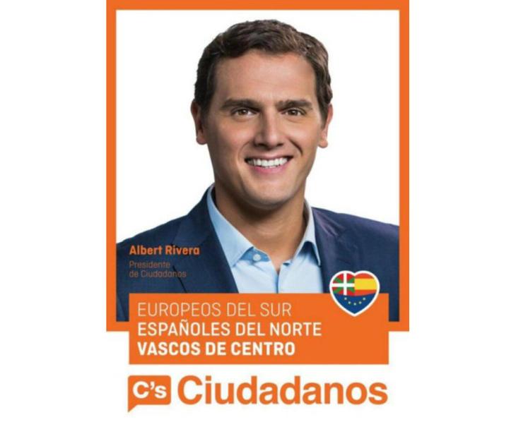 'Europeos del sur, españoles del norte, vascos del centro', eslogan de Ciudadanos en Euskadi
