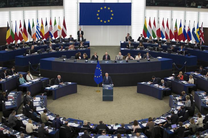 Juncker durante su discurso en el Parlamento Europeo