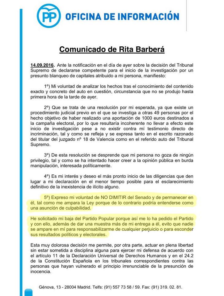 Comunicado de Rita Barberá sobre su dimisión