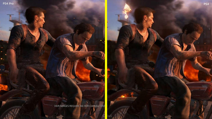 Diferencia gráfica de 'Uncharted 4' entre PS4 y PS4 Pro