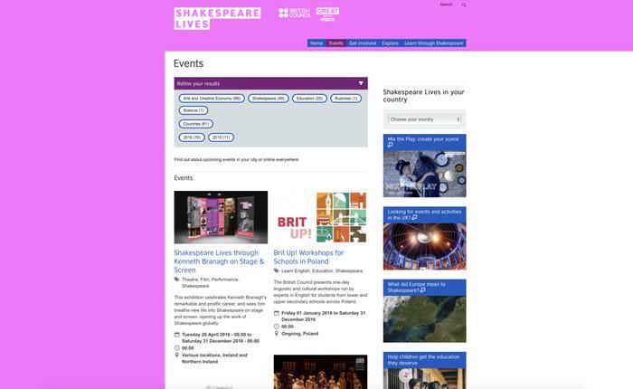 La página inglesa permite una navegación rápida y eficaz