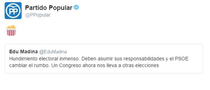 El PP prepara palomitas ante la crisis del PSOE