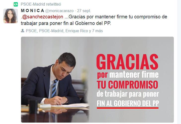 El PSOE madrileño apoya en las redes sociales a Pedro Sánchez
