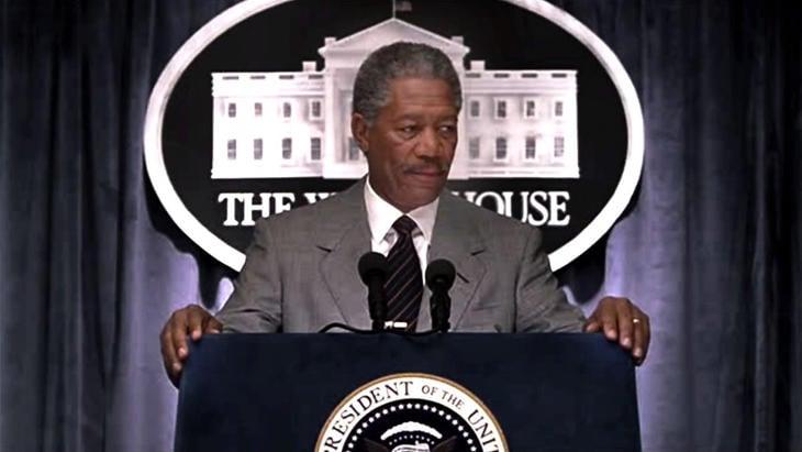 Morgan Freeman como presidente en 'Deep Impact'.