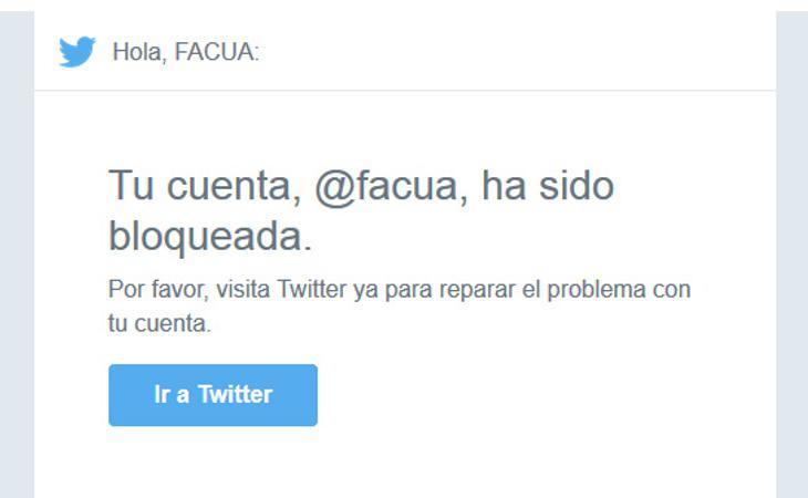 Twitter bloqueó la noche del jueves la cuenta de Facua