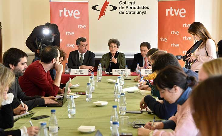 Rosa María Mateo en elCol·legi de Periodistes de Catalunya