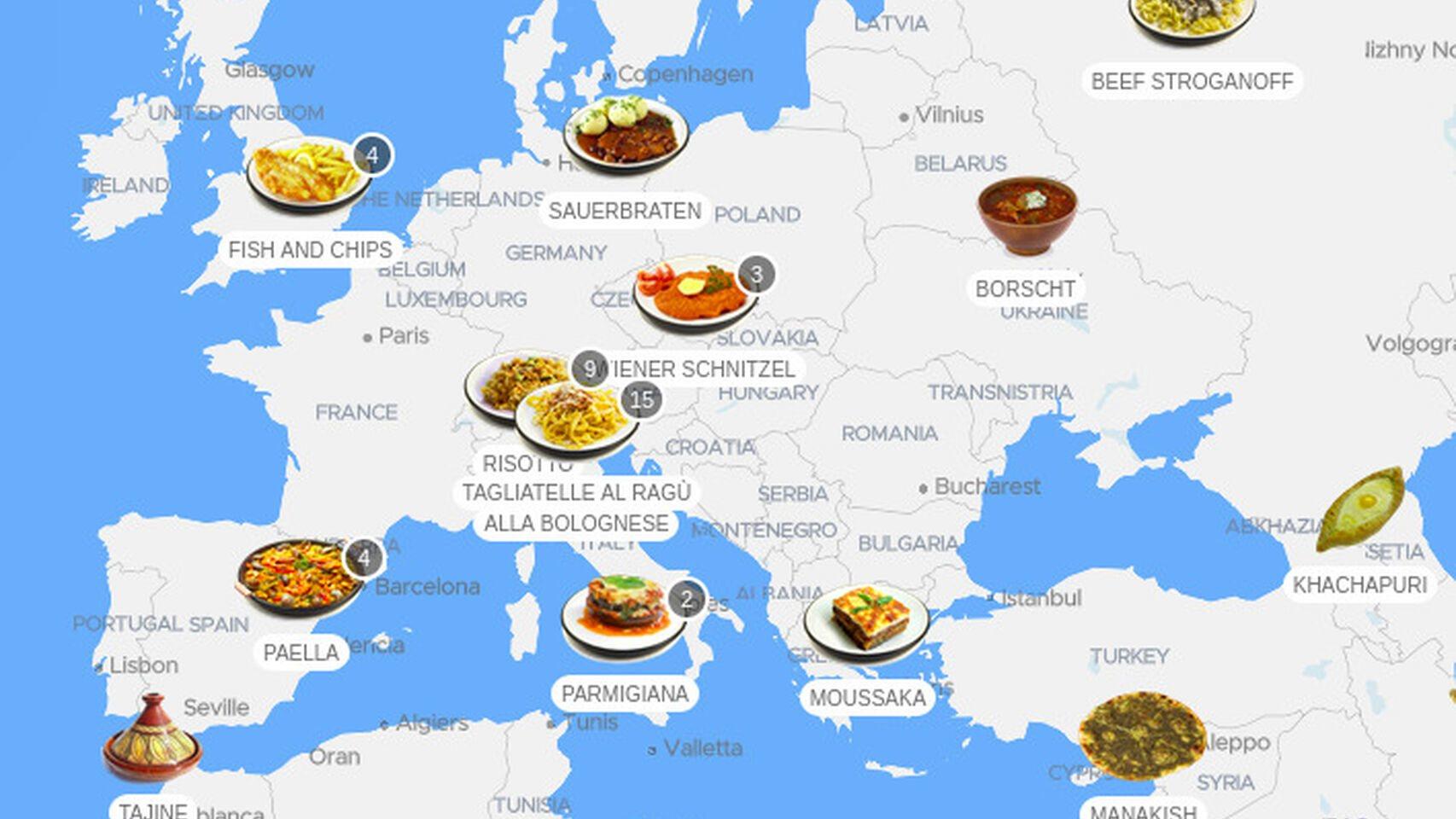 Mapa de la lista de los 100 mejores platos