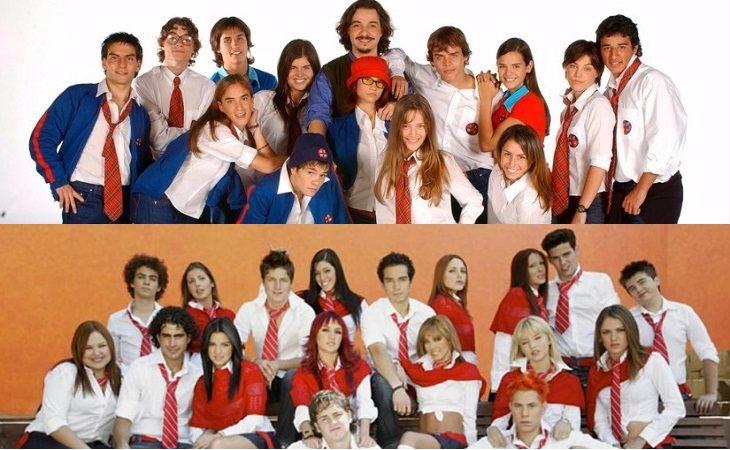 Elenco de 'Rebelde Way' (arriba) y elenco de 'Rebelde' (abajo)