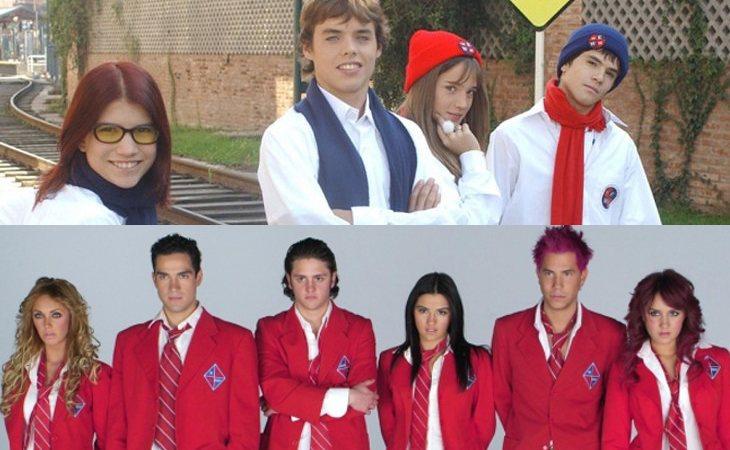 Los protagonistas de 'Rebelde Way' (arriba) y de 'Rebelde' (abajo)