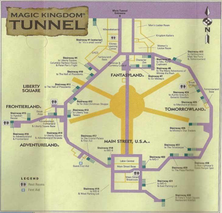 Plano de los utilidors en Disney World