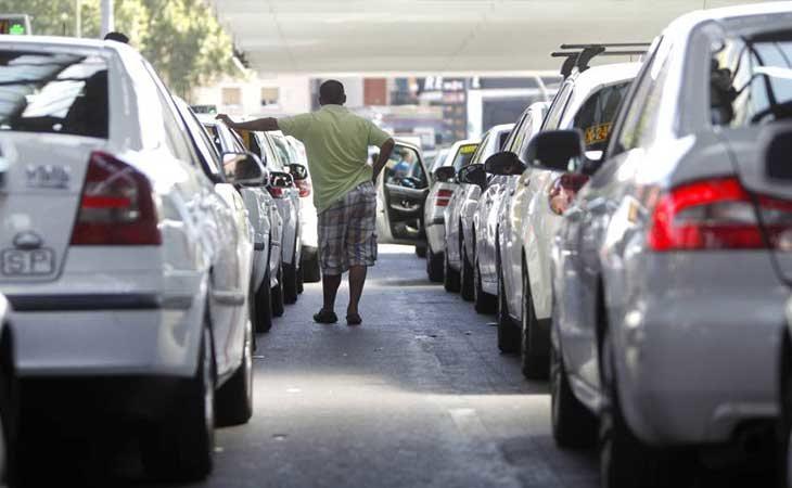 Protesta de los taxistas en Madrid contra los VTC