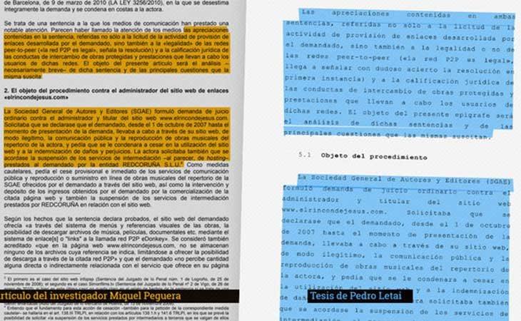 Imágenes de eldiario.es mostrando el plagio de la tesis de Pedro Letai