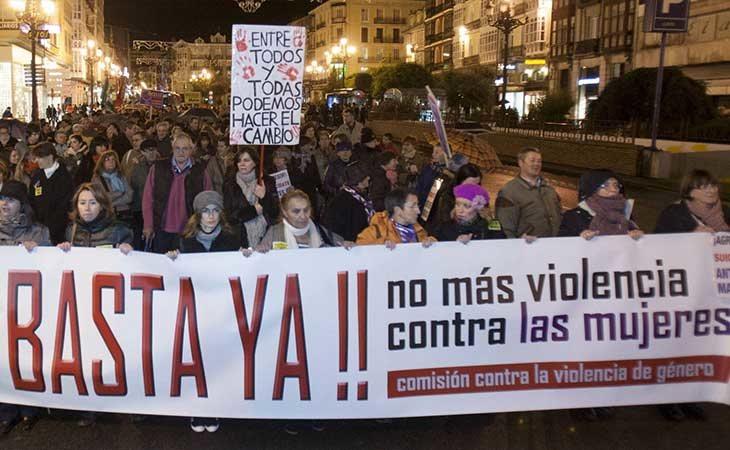 Manifestación en España contra la violencia de género