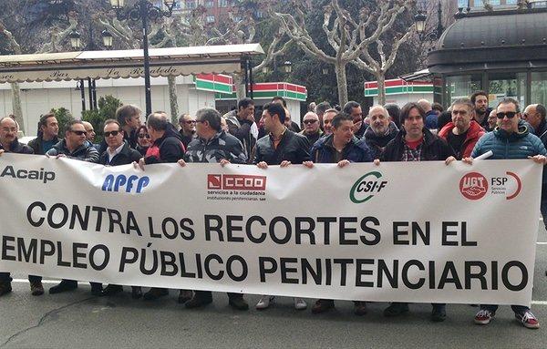 Los funcionarios de prisiones se han manifestado en contra de los recortes en múltiples ocasiones