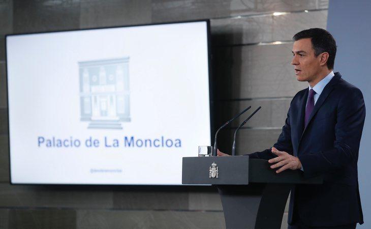 Pedro Sánchez durante su comparecencia en La Moncloa