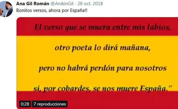 Tuit de Ana Gil Románen homenaje a Primo de Rivera