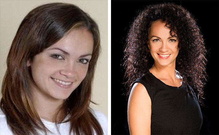 Belinda en 'Fama, ¡a bailar!' (izq.) y en la actualidad (dcha.)