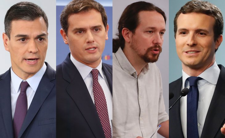 Pedro Sánchez, Albert Rivera, Pablo Iglesias y Pablo Casado