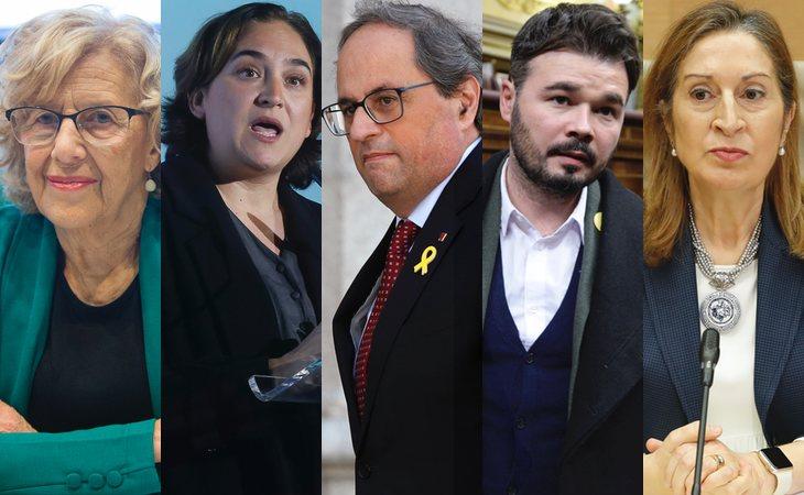 Manuela Carmena, Ada Colau, Quim Torra, Gabriel Rufián y Ana Pastor