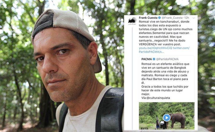 Fran Cuesta ha cargado contra PACMA a través de varios tuits