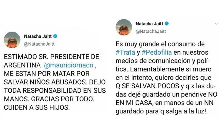 Los tweets de Natacha respecto a las denuncias de pedofilia