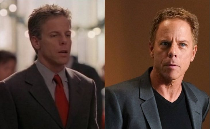 Greg Germann como Richard Fish (izq) y en la actualidad (dcha)