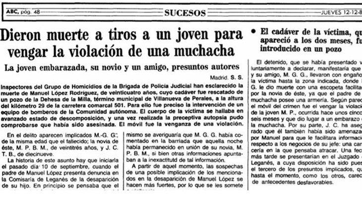 La crónica del ABC de 1985 asegura que Baeza se quedó embarazada