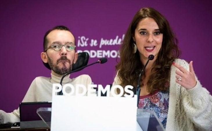 Noelia Vera y Pablo Echenique, durante la rueda de prensa tras el Consejo de Coordinación de Podemos -Público