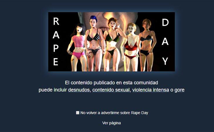 'Rape Day' avisa antes de entrar a la página del contenido pornográfico