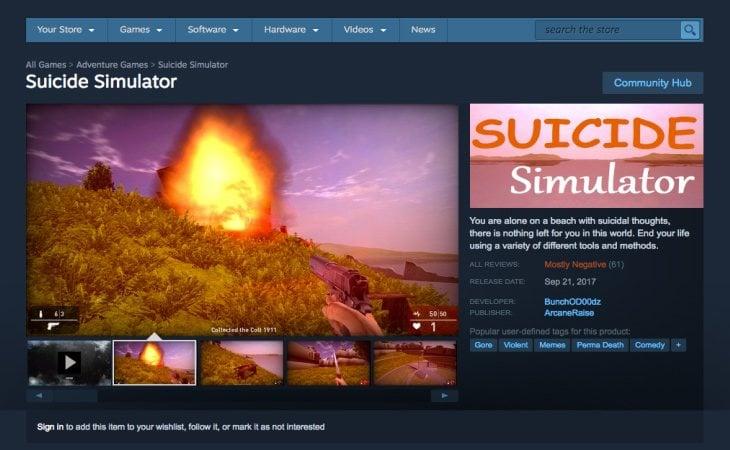 'Suicide Simulator' fue retirado de Steam junto a otros polémicos juegos