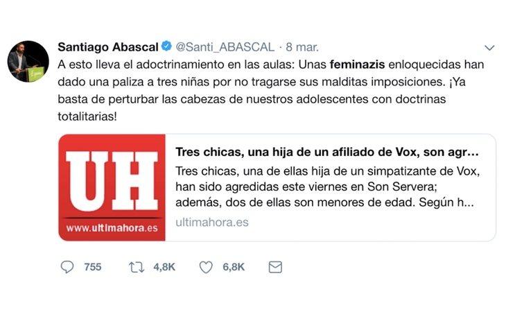 Uno de los tuits publicados por Santiago Abascal