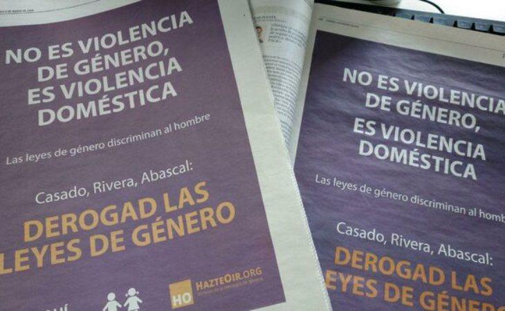 La publicidad de Hazte Oír en El Mundo, ABC y La Razón