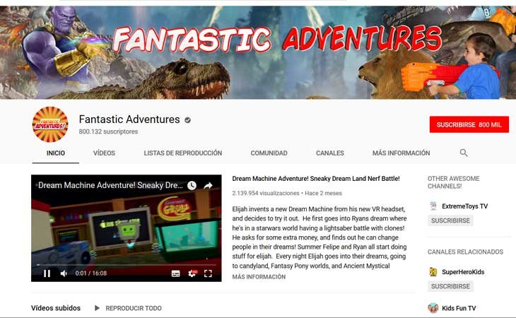 Canal de Youtube 'Fantastic Adventures'