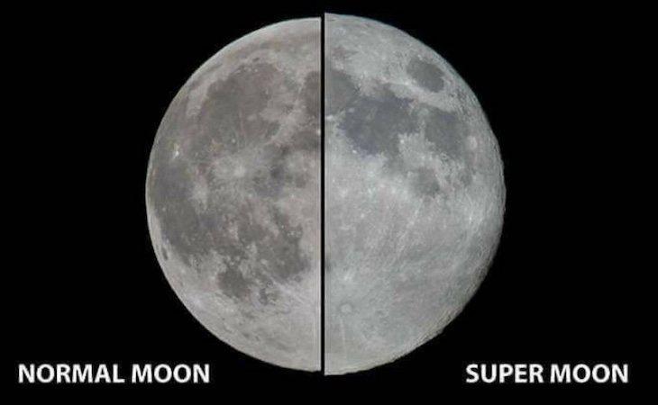 Comparativa de una Luna llena y una Superluna llena