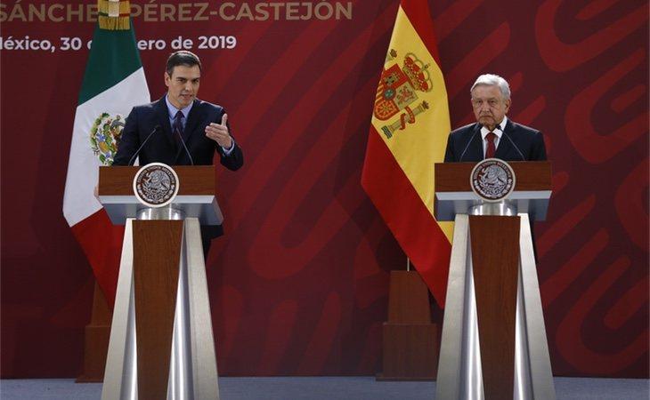 Sánchez y Obrador en enero de 2019