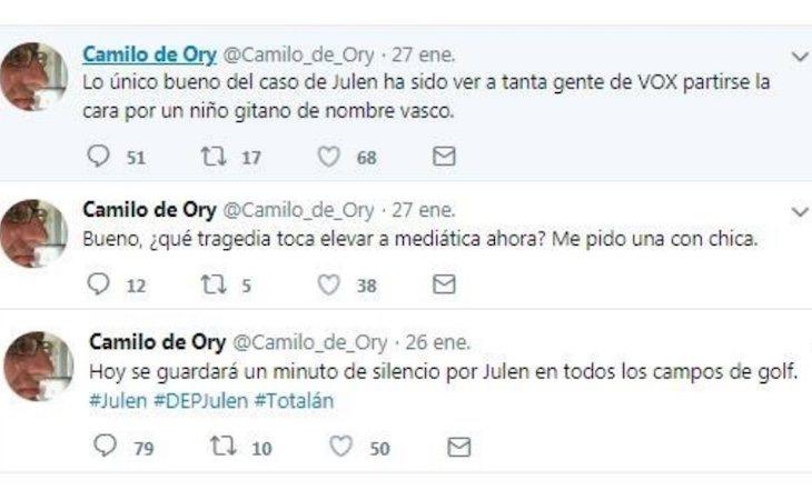 Camilo de Ory publicó tuits ofensivos durante los días de rescate de Julen