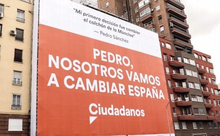 El cartel de Ciudadanos ha sido mandado retirar por la Junta Electoral de Madrid