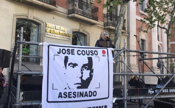 La hermana de José Couso durante el acto - Twitter @HACJoseCouso
