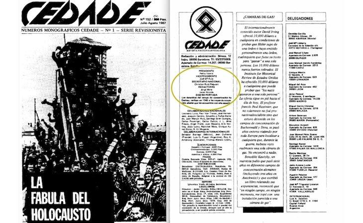 Revista de CEDADE con la publicación que califica el Holocausto como una fábula - La Marea