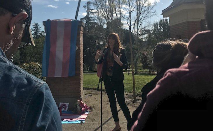 Valeria Vegas durante el acto homenaje a Cristina Órtiz, La Veneno