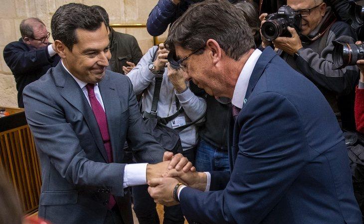 Juan Marín y Juanma Moreno son los líderes del Ciudadanos y PP en Andalucía
