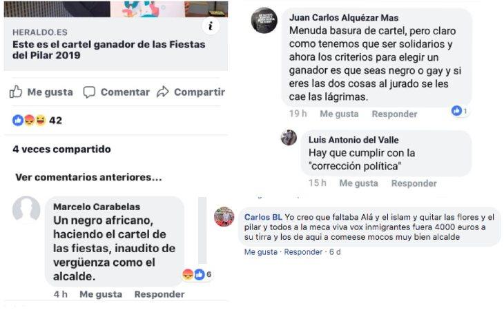 Algunos de los comentarios racistas de la noticia en Facebook