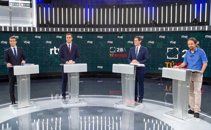 Los candidatos en el debate de RTVE