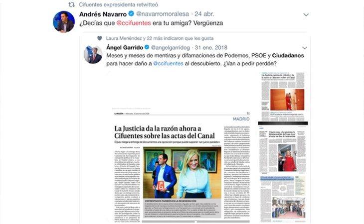 Captura del mensaje que ha retuiteado Cristina Cifuentes