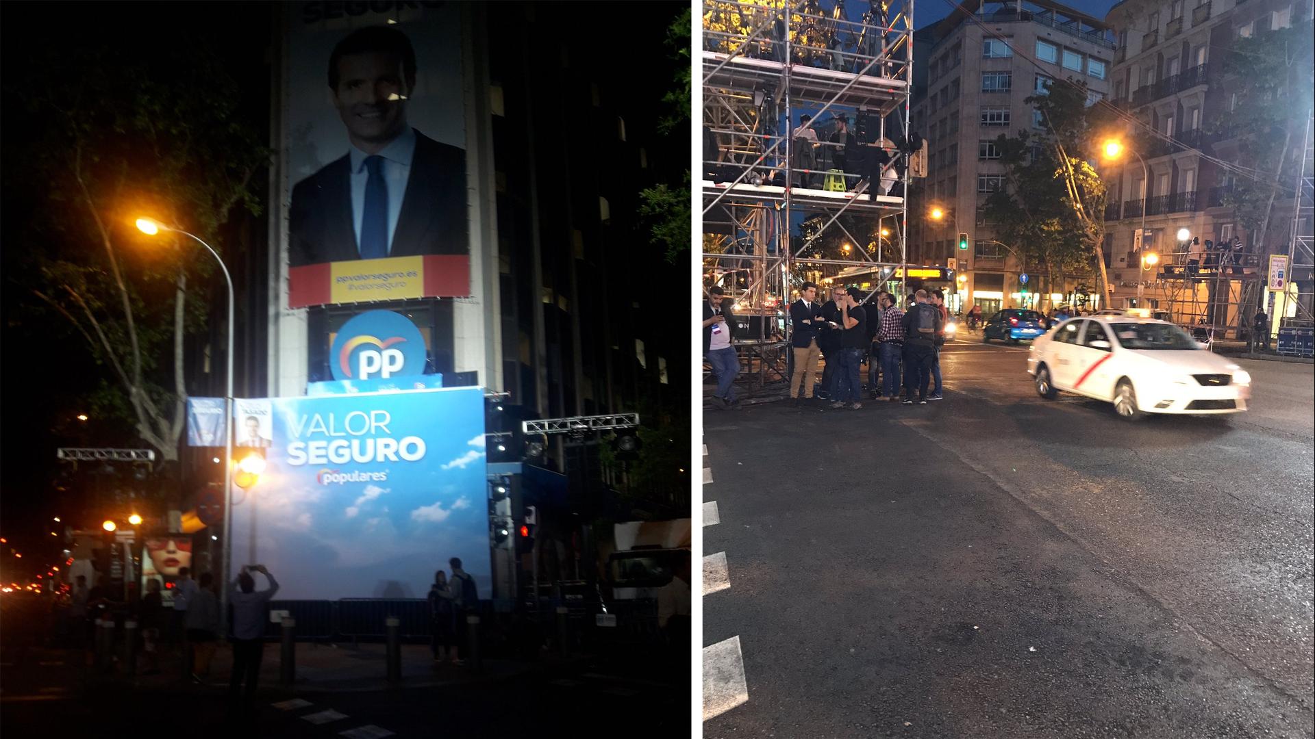 El PP ha preparado el balcón de Génova para celebrar la victoria... y la zona se encuentra completamente vacía
